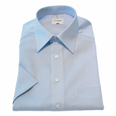 Short Sleeve Olymp Shirts Light Blue Short Sleeve Fil a Fil Olymp Shirt £50.00