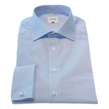 Olymp Shirts Light Blue Chambray double cuffs cut away collar Sleeve Length 25''1/4- 65cm £55.00