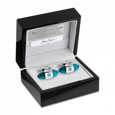 Contemporary Sonia Spencer Baguette Spotted Cufflinks Turquoise £45.00