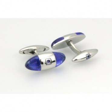 Contemporary Sonia Spencer Baguette Zigzag Cufflinks Blue £45.00