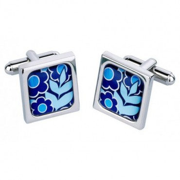 Chunky Dome Sonia Spencer Big Bold Flowers Blue Cufflinks £30.00