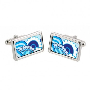 Chunky Dome Sonia Spencer Blue 70S Floral Cufflinks £30.00