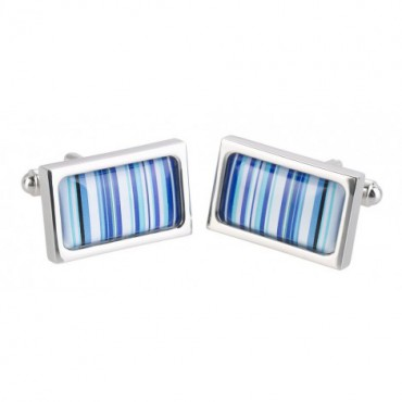 Chunky Dome Sonia Spencer Blue Barcode Cufflinks £30.00