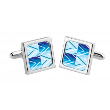 Chunky Dome Sonia Spencer Blue Chevron Check Cufflinks £30.00