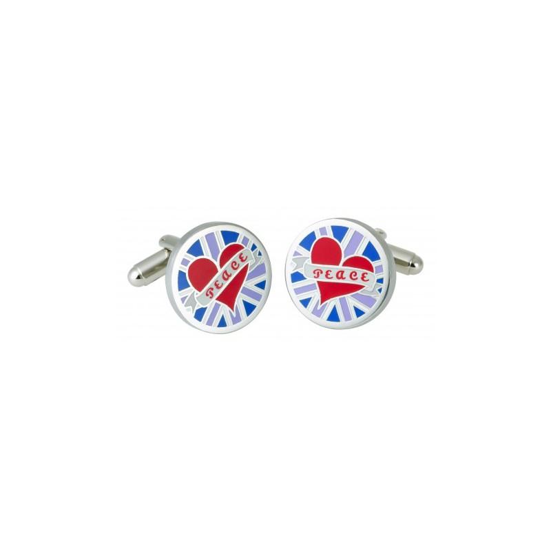 Contemporary Sonia Spencer Blue Circular Peace Cufflinks £25.00