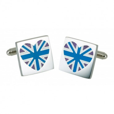 Contemporary Sonia Spencer Blue Union Jack Heart Cufflinks £25.00