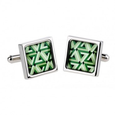 Contemporary Sonia Spencer Green Weave Cufflinks £30.00