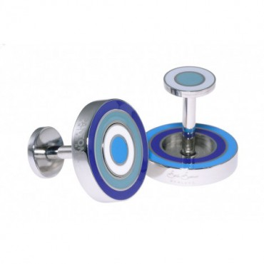 Reversible Sonia Spencer Ink Blue Round Reversible Cufflinks £45.00