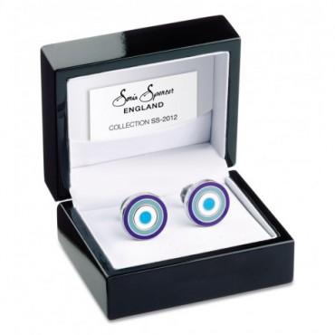 Reversible Sonia Spencer Ink Blue Round Reversible Cufflinks £45.00