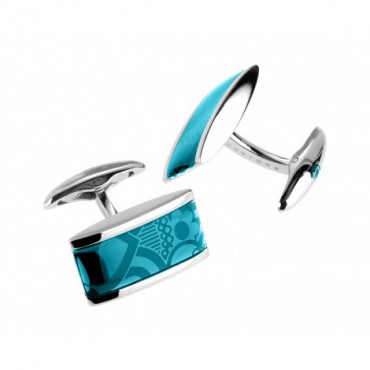 Contemporary Sonia Spencer Oblong Lozenge Turquoise Cufflinks £45.00