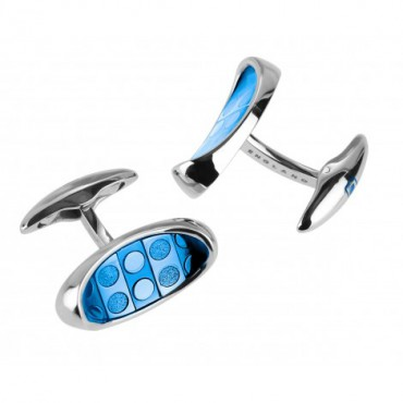 Contemporary Sonia Spencer Oval Thumb Print Alaskan Blue Cufflinks £45.00