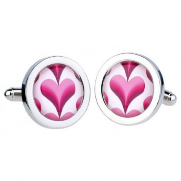 Contemporary Sonia Spencer Pink Stripey Heart Cufflinks £30.00
