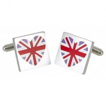 Contemporary Sonia Spencer Red Union Jack Heart Cufflinks £25.00