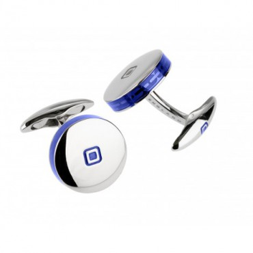 Contemporary Sonia Spencer Round Tablet Blue Cufflinks £45.00