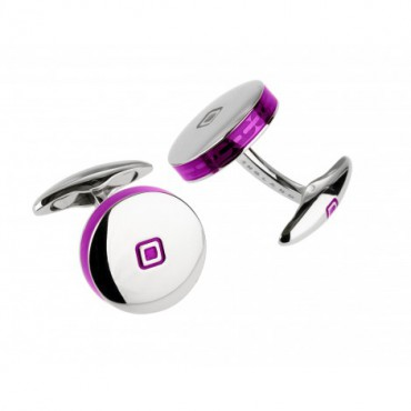 Contemporary Sonia Spencer Round Tablet Purple Cufflinks £45.00