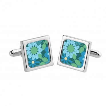 Chunky Dome Sonia Spencer Teal Candy Flowers Cufflinks £30.00