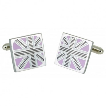 Contemporary Sonia Spencer Union Jack Trimmed Pink Cufflinks £25.00