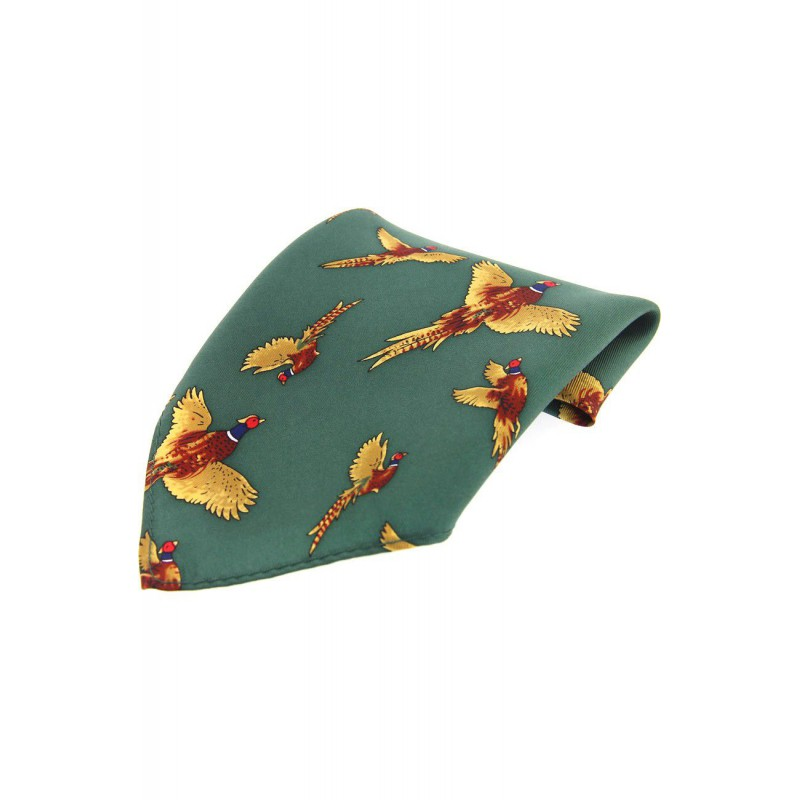 Country Handkerchiefs Soprano Ties Soprano Forest Green Flying Pheasant Silk Pocket Square £20.00
