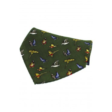 Country Handkerchiefs Soprano Ties Soprano Green Country Birds Silk Pocket Square £20.00