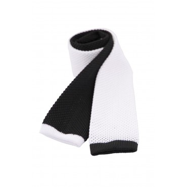 Valentines Day Gifts Soprano Ties Soprano Two Tone Black And White Knitted Thin Polyester Tie £27.00