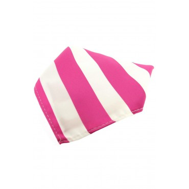 Fashion Handkerchiefs Soprano Ties Soprano Fuchsia And White Striped Polyester Pocket Square £14.00