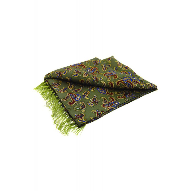 Fashion Scarves Soprano Ties Soprano Morris Paisley On A Country Green Ground Silk Aviator Scarf £66.00