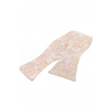 Self Tie Wedding Bow Ties Soprano Ties Soprano Edwardian Paisley Beige On Ivory Ground Self Tied Bow £31.00