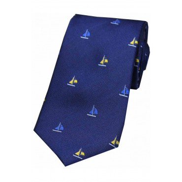 Country Ties Soprano Ties Soprano Sailing Boats On Blue Ground Country Silk Tie £31.00