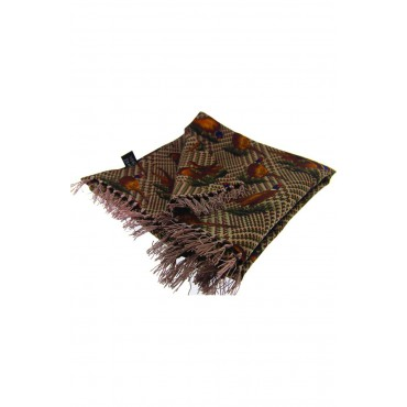 Country Scarves Soprano Ties Soprano Silk Aviator Scarf With Standing Pheasants On Tweed Ground £66.00