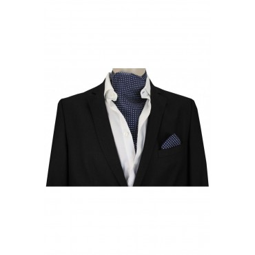 Self Tie Cravats Soprano Ties Soprano Silk Pin Dot White And Navy Cravat £40.00