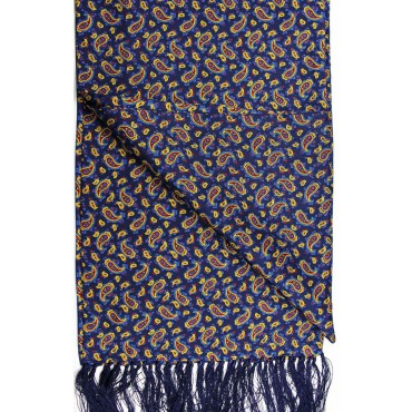 Fashion Scarves Soprano Ties Soprano Small Paisley On A Deep Blue Ground Silk Aviator Scarf £66.00