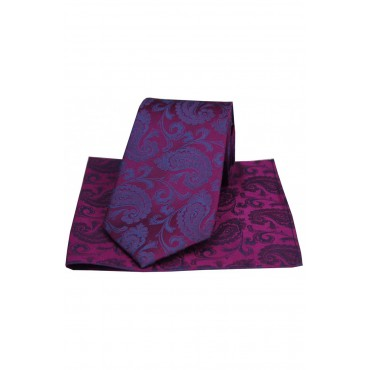 Wedding Ties And Hankies Soprano Ties Soprano Luxury Plum And Blue Paisley Silk Tie £50.00