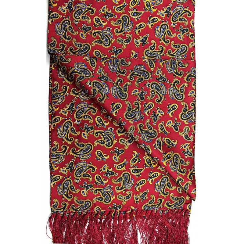 Fashion Scarves Soprano Ties Soprano Edwardian Paisley On A Deep Red Ground Silk Aviator Scarf £66.00