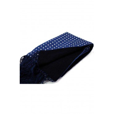 Silk Wool Mix Scarves Soprano Ties Soprano Lambs Wool And Printed Silk Polka Dot Scarf On Navy Ground £66.00