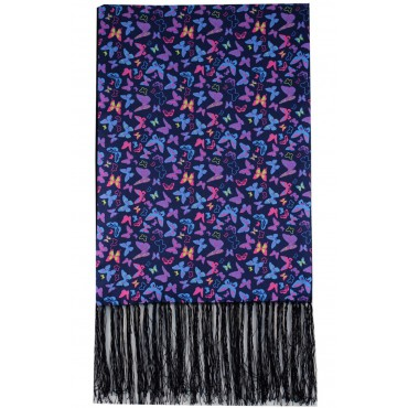 Silk Wool Mix Scarves Soprano Multi Coloured Butterflies On Navy Ground Wool And Silk Mix Luxury Mens Silk Scarf £70.00