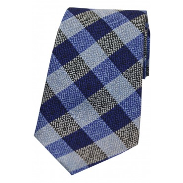 Silk Ties Soprano Ties Soprano Shades Of Blue Textured Check Silk Tie £22.00