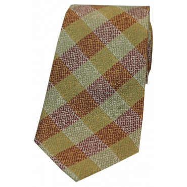 Silk Ties Soprano Ties Soprano Burnt Orange And Green Check Patterned Silk Tie £22.00