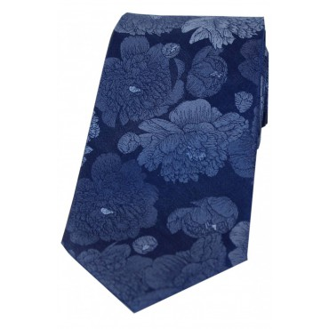Wedding Ties Soprano Ties Soprano Large Blue Flowers Luxury Silk Tie £27.00