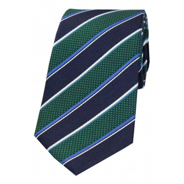 Striped Ties Soprano Ties Soprano Navy Green White And Blue Striped Silk Tie £27.00
