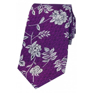 Wedding Ties Soprano Ties Soprano Purple Flower And Leaf Luxury Silk Tie £27.00