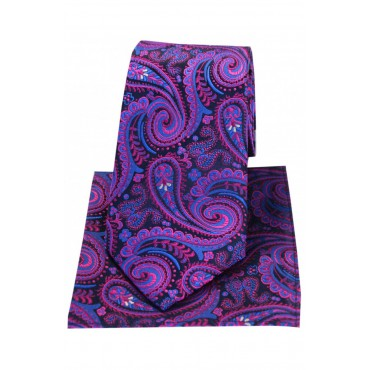 Posh And Dandy Tie And Hanky Set Soprano Ties Posh & Dandy Navy With Magenta Swirly Paisley Silk Tie & Hanky Set £60.00