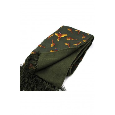 Silk Wool Mix Scarves Soprano Ties Soprano Green Flying Pheasants Silk With Wool Backing Scarf £70.00