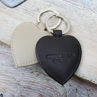 Keyrings Byron & Brown Smooth Nappa Leather Heart Key Ring-BB-1567514541 £7.00