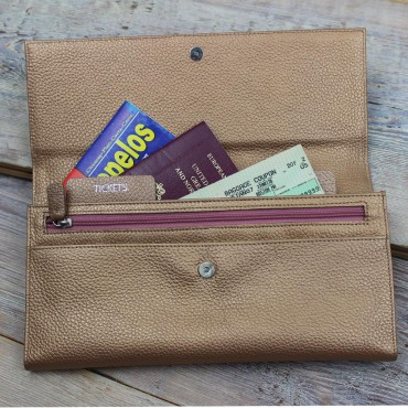 Women Byron & Brown Rose Gold Leather Travel Wallet £50.00