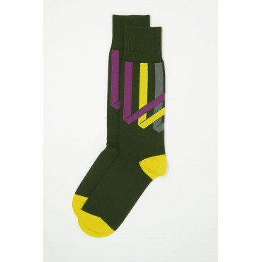 Men PEPER HAROW Ribbon Stripe Mens Socks - Pine £15.00