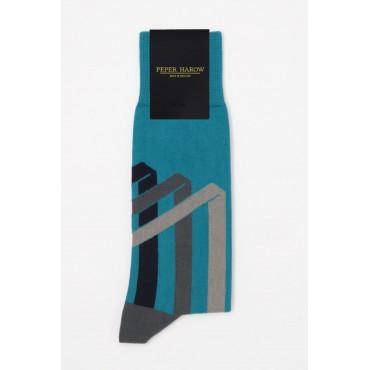 Men PEPER HAROW Ribbon Stripe Mens Socks - Peacock £15.00