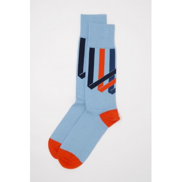 Men PEPER HAROW Ribbon Stripe Mens Socks - Sky £15.00