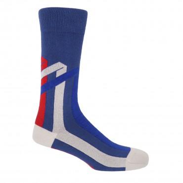 Men PEPER HAROW Ribbon Stripe Mens Socks - Royal Blue £15.00