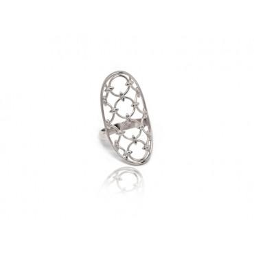 Precious Jewellery Babette Wasserman Oval Chandelier Diamond Ring Silver £260.00
