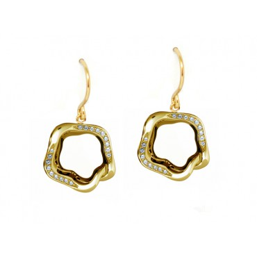 Earrings Babette Wasserman Open Flower Earrings Crystal Gold £100.00